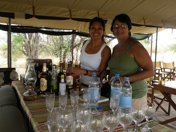 Rowena and Marsha at Bar in Tent